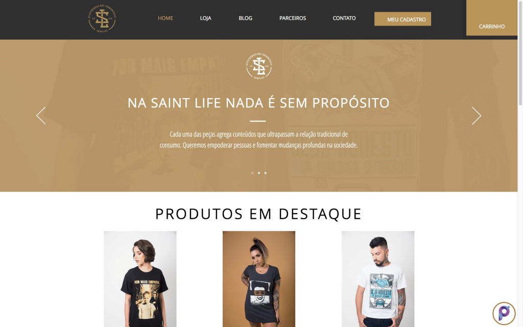 SaintLife é um E-commerce Polinizador