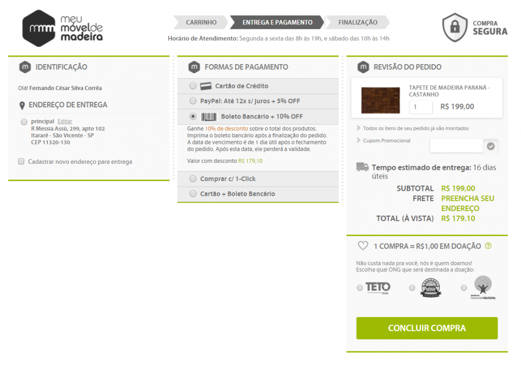checkout do ecommerce polinizador meu móvel de madeira
